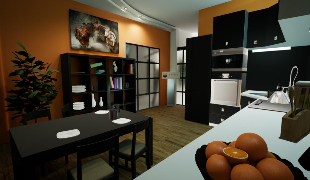 Визуализация интерьера в VR, виртуальная реальность и интерьер, кухня