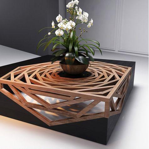 стол с цветами, интересные формы, деревянный стол в виртуальной реальности