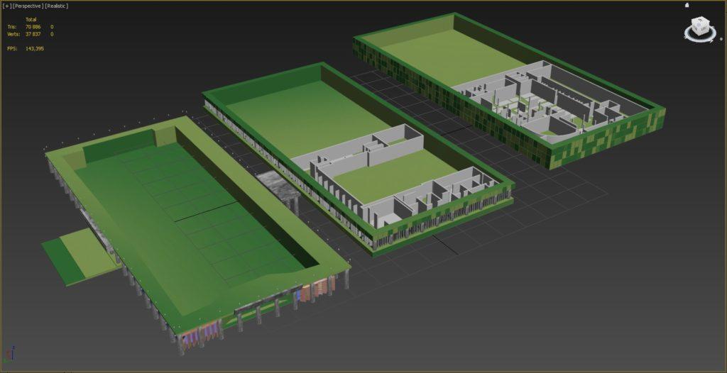 3d Max, архитектурный макет здания