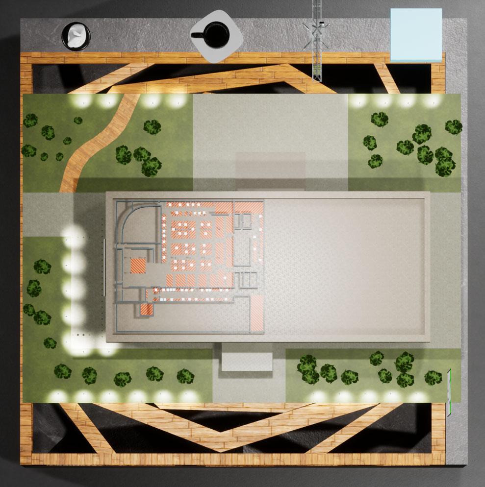 Макет вид сверху, план здания