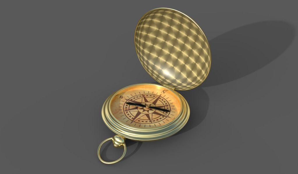 компас, компьютерная графика, 3д модель, золотой компас