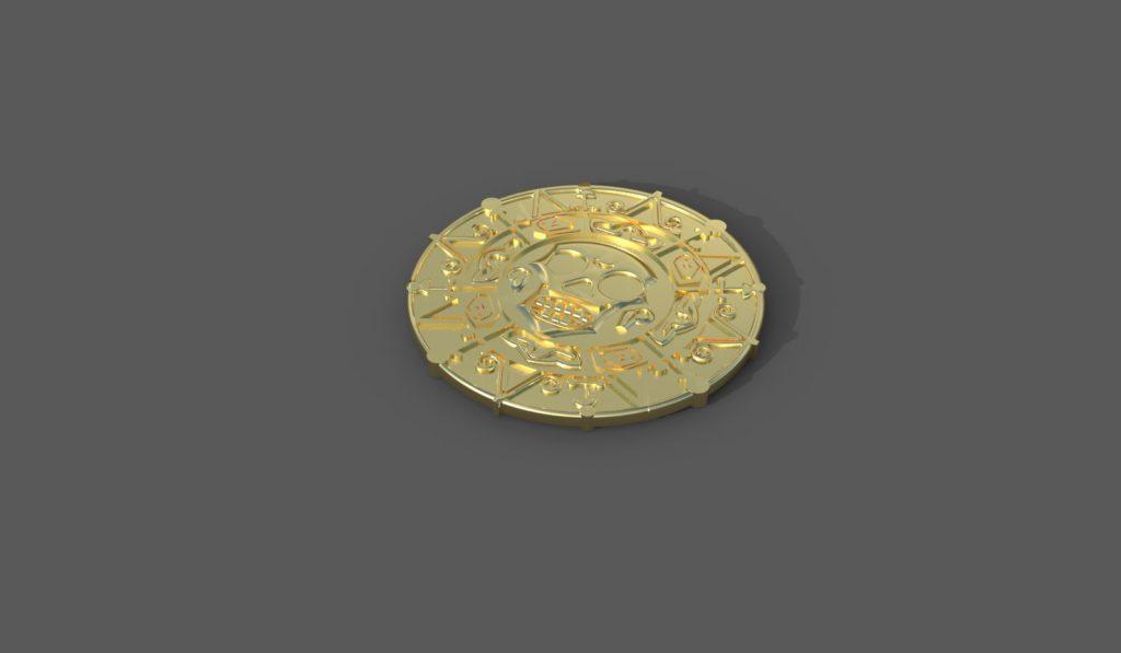золотая монета, компьютерная графика, 3д модель